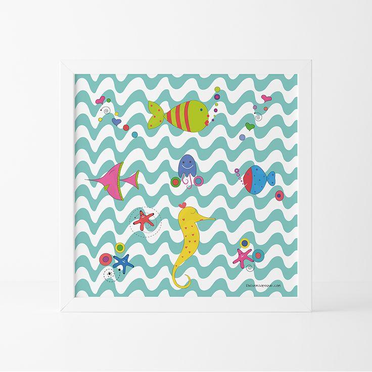 Un divertido Diseño lleno de colores para decorar una Habitación Infantil o de Bebés. La Lámina Infantil Animales Marinos es una opción perfecta si estás pensando en hacer un Regalo Original. Recuerda que dispones de diferntes medidas y también podrás agregarle el marco que más te guste. Entra el la tienda online y compone el tuyo. ¡RESÉRVALO!