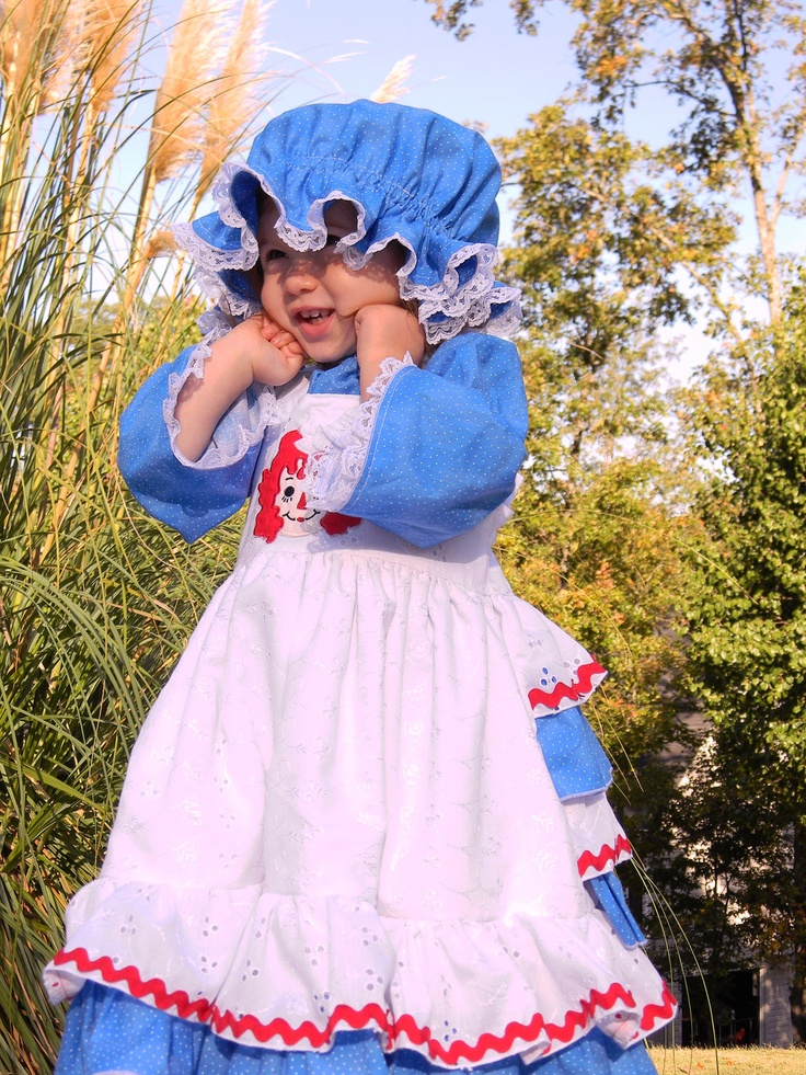 Raggedy Ann Ruffle Back Dress, Peasant Top, Hat and Bloomer Pants