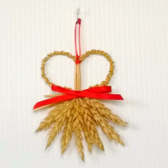 Wall Decor - Wheat Weaving - Straw - Corn Dolly - Rustic - Heart's Desire, wedding, affirmation, Valentine's Day, folk art, wiccan, bohemian
