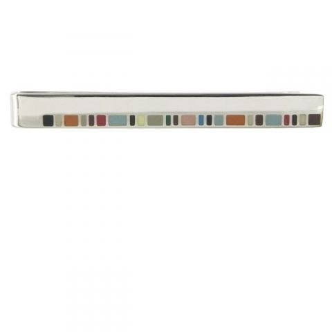 This Paul Smith tie pin is made with a multi-coloured design on the front.