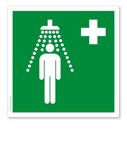 Rettungszeichen Notdusche nach DIN EN ISO 7010. #notdusche