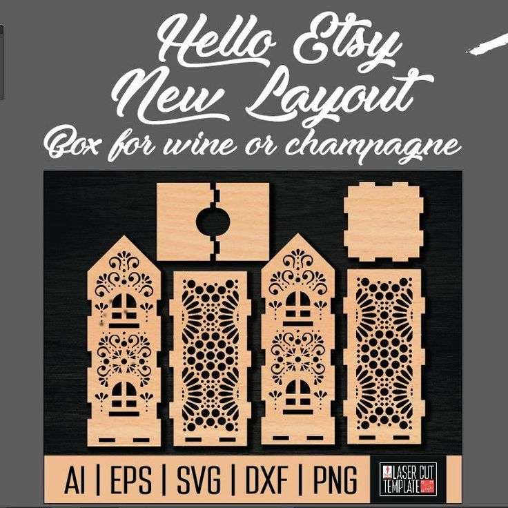 New layout! wine box template!  I draw files for laser cutting and CNC machines to order and according to your parameters.  It's great if you write me what layouts you would like to see.  Contact me if you need to quickly draw a layout. :)