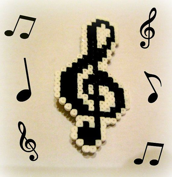 A treble clef brooch or Keyring. Hama  bits  by Regalopia on Etsy, €4.50
