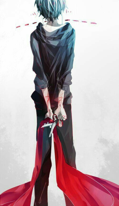 anime boy  red ribbon  scissors  cuts  sad  anime guys