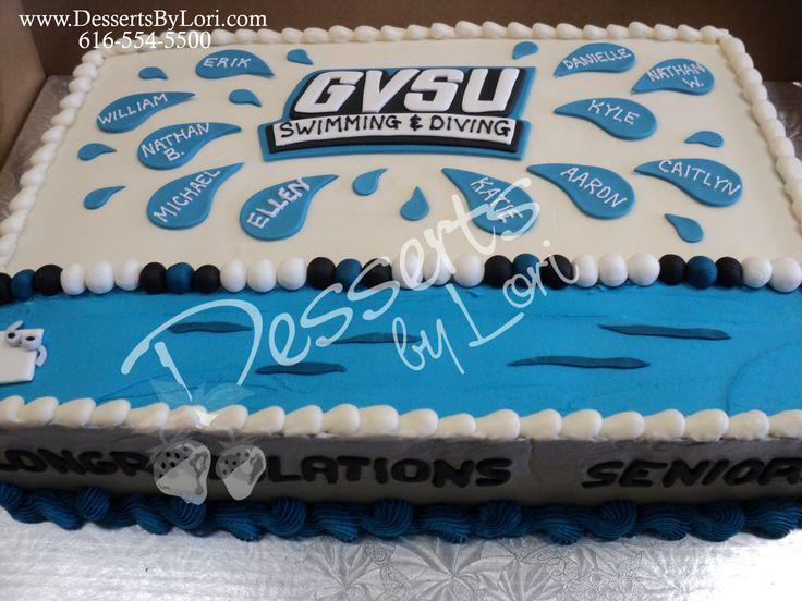 #221 GVSU Swim team cake by Desserts by Lori