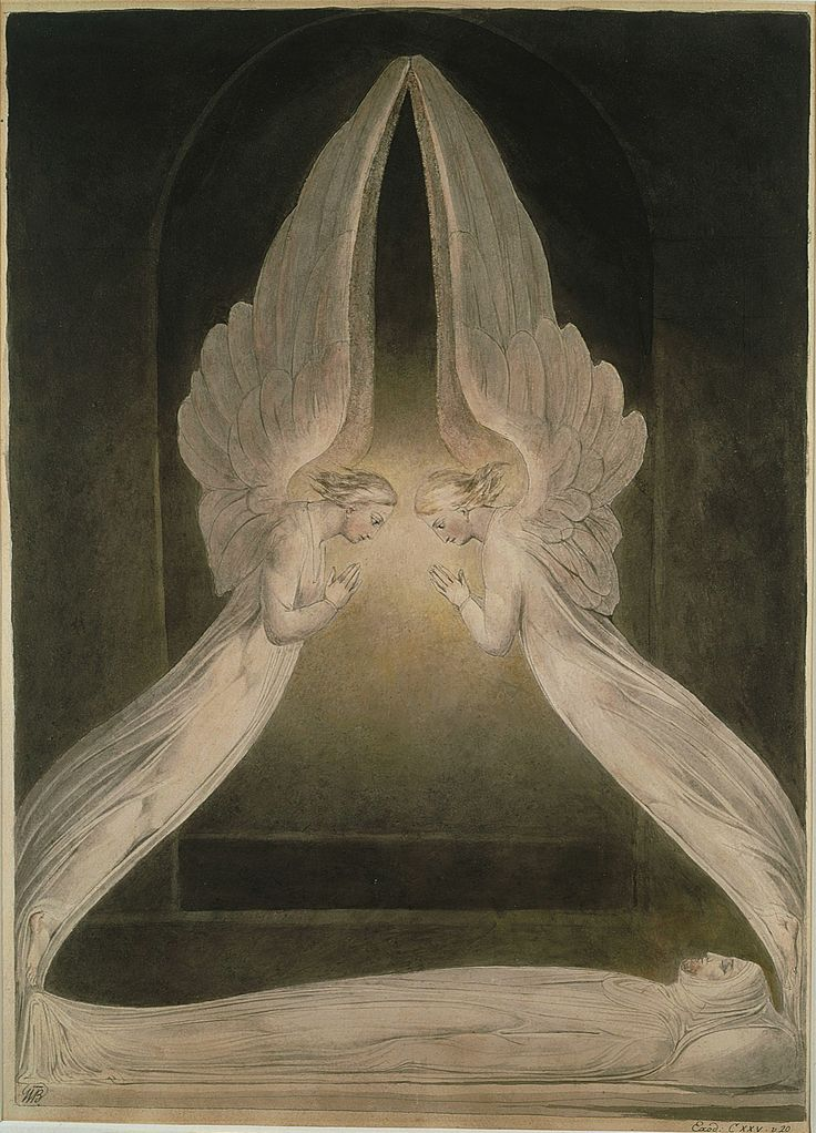 """William Blake: """"Christ in the Sepulchre, Guarded by Angels"""" (c. 1805). Illustration for the Bible (New Testament), object 1 (Butlin 500). Pencil, pen, ink and water color. Victoria and Albert Museum, London, UK"""
