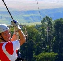 Aerial Cable Tours - An aerial cable trail near the KwaZulu-Natal town of Bergville in the foothills of the Drakensberg is an adrenaline-filled but also very scenic experience. You start off on the cliff face and fly through the tree tops on a long, fast, series of zip lines or foefie slides. Also called a flying fox, this treetop canopy tour is one of the best ways to see a forest.