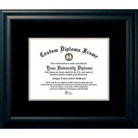 Campus Images 8.5x11 Satin Black, Black and Silver Mats, Certificate Frame