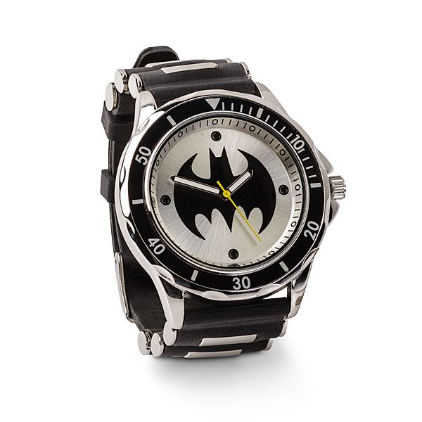 Always know what time it is in Gotham when wearing this Batman Studded Watch. Time to kick the Joker's butt. This black Batman watch with gunmetal details looks stunning and comes in a tin, which makes it easy to give as a gift.