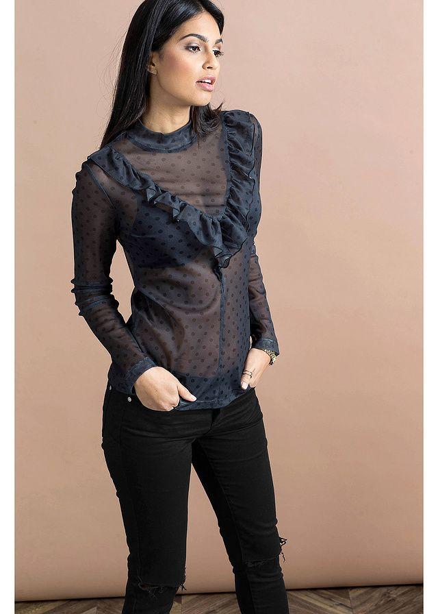 Modny shirt marki Bodyflirt z prześwitującego materiału z falbaną, czyniącymi go absolutnym must-have w tym sezonie! Dł. w rozm. 36/38 ok. 64 cm. Materiał wierzchni: 95% poliester, 5% elastan