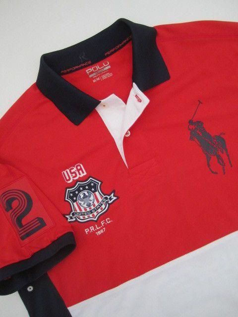 Mens Medium Polo Sport Ralph Lauren Performance Rugby Usa Big Logo