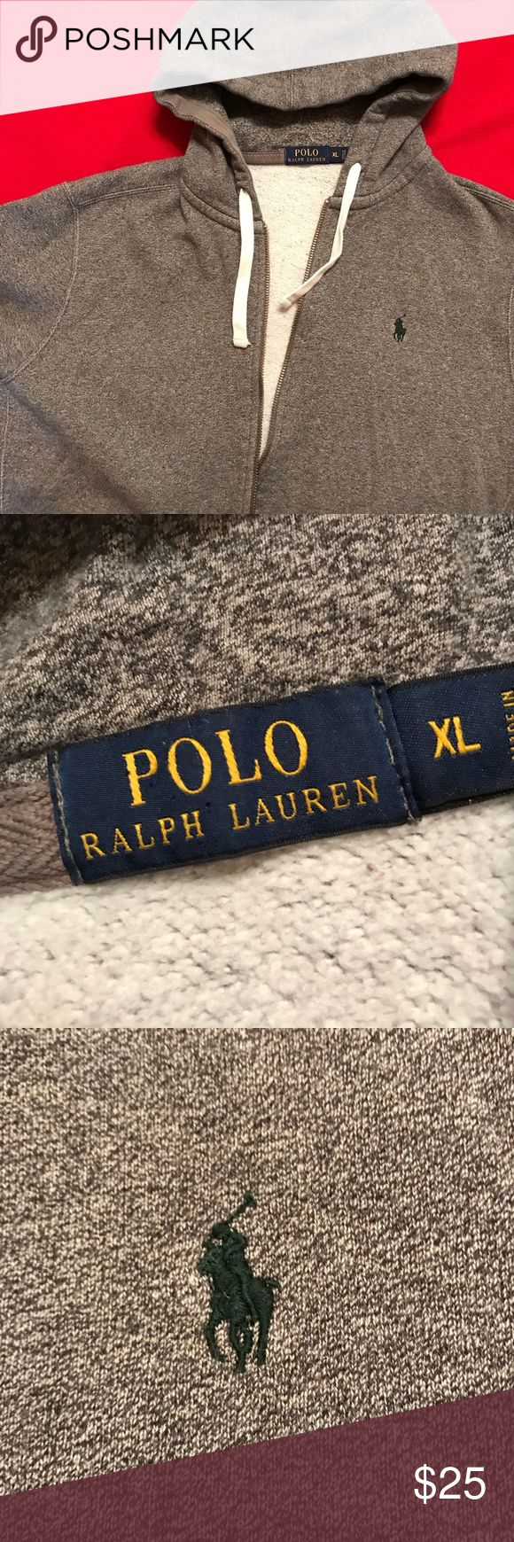 Men's XL Ralph Lauren zippered hoodie grey Gently worn, feet Marled hoodie with green pony ralph lauren polo Jackets & Coats Lightweight & Shirt Jackets