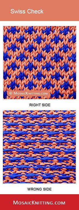 How to knit the Swiss Check stitch . Best image about Slip stitch, mosaic knitting.