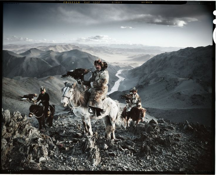 "Kazakh men hunting with eagles. From Jimmy Nelson's book ""Before They Pass Away."""