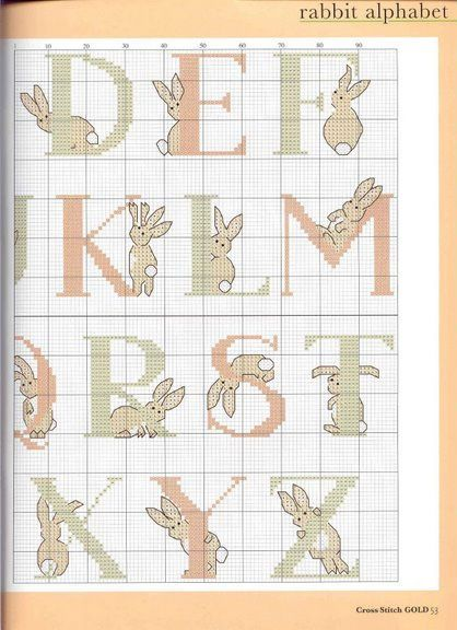 "Bunny alphabet - free cross stitch pattern - I once saw somewhere a cross stitch done with these letters saying ""let's fuck"" it was hilarious. I might steal the idea..."
