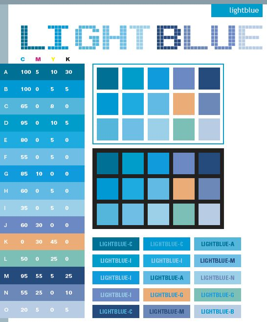 Light Blue Color Schemes Combinations Palettes For Print CMYK And Web RGB HTML