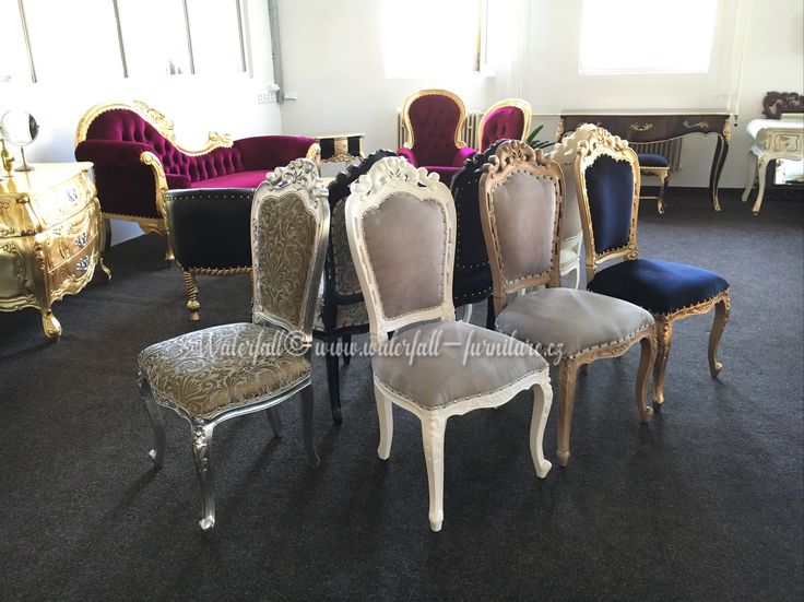Retro jídelní židle, dining chair baroque gold / silver / white painted / cerused wood / black