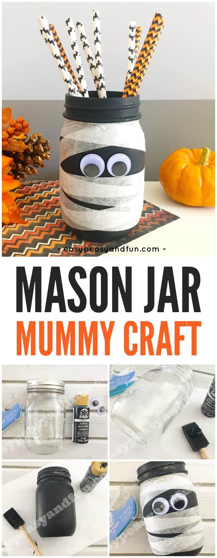 Super simple Halloween craft idea for kids to make - make a mason jar mummy! #Halloween #halloweencrafts #craftsforkids