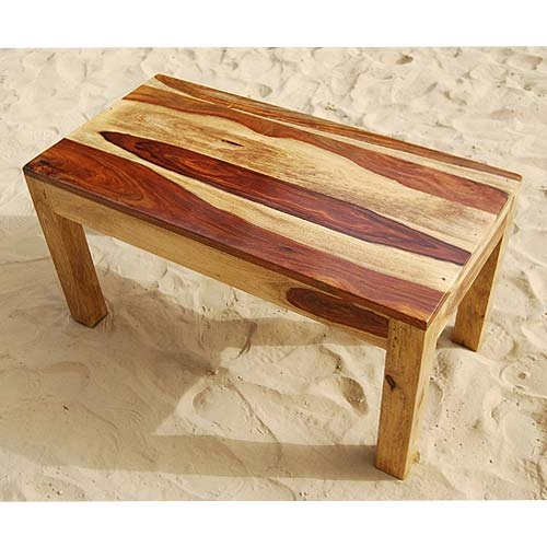 Solid Wood Block Coffee Table: Traditional Style Solid Wood Rectangular Coffee Table