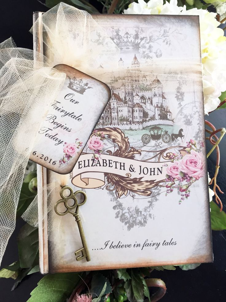 Fairy tale Once Upon a Time shabby chic vintage pink roses style wedding guest book by shabbyweddingbooks on Etsy