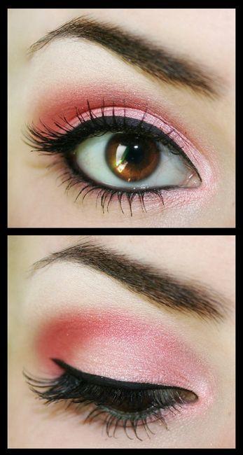 soft pink smoky eye shadow with dark black eyeliner.