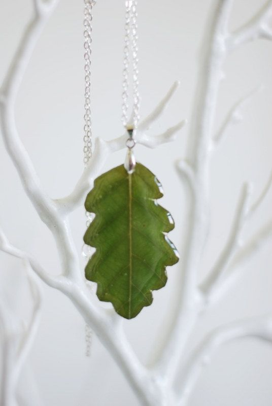 Green Oak Leaf Necklace Resin Real Pressed by NaturalPrettyThings