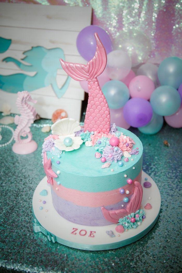 Shimmering Mermaid Birthday Party | Cakes! | Mermaid birthday