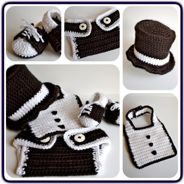 Crochet Babys First Tuxedo.   awesome baby shower gift idea for boys