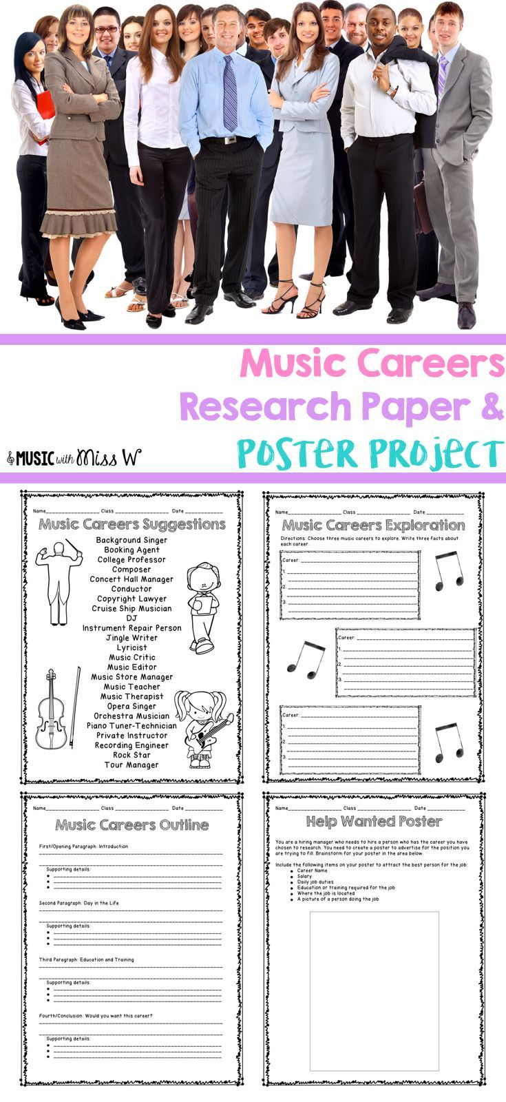 I'm planning to use this music careers research project after my concert this year with my middle school students. Love that most of what I need is already set up for me and it includes an editable rubric. My school is big on cross curricular projects that include writing so this is perfect!