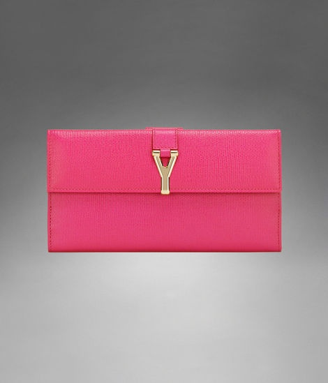 Check out Large YSL Chyc Wallet in Fuchsia Textured Leather at ...