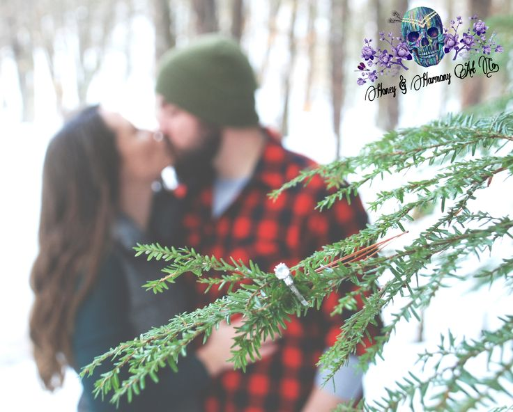 Love is in the chilly air! Winter in the Woods Engagement Photos! Love this Ring…