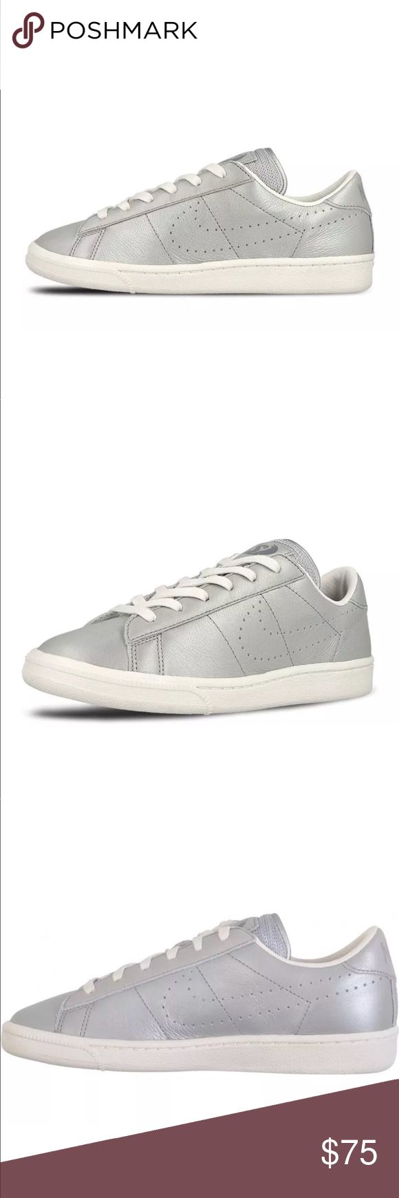 NIKE TENNIS CLASSIC PREMIUM WOMENS SHOES SILVER BRAND NEW WITHOUT BOX,  Listed in women's sizing ORDER YOUR WOMENS SHOE SIZE Conversion  5.5 YOUTH = 7 WOMENS  6 YOUTH = 7.5 WOMENS  6.5 YOUTH = 8 WOMENS  7 YOUTH = 8.5 WOMENS   ALL SIZES ARE LISTED ACCORDING TO NIKES SIZE CHART WHICH I ADDED ABOVE FOR YOUR Convenience.   Ships same day or next.  Price is firm.  100% authentic & direct from Nike Nike Shoes Sneakers