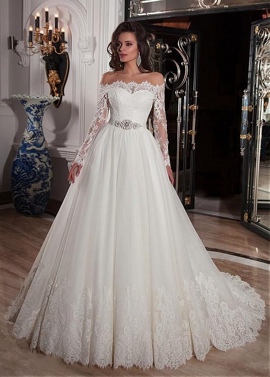 Elegant Tulle Off-the-Shoulder Neckline Ball Gown Wedding Dresses with Lace Appliques – Sarah