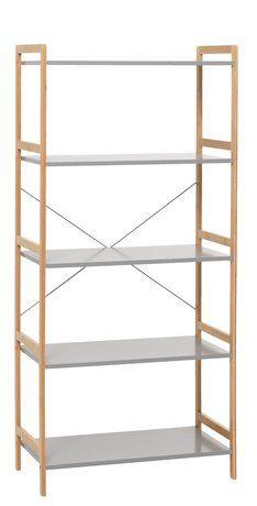 Regál BROBY 5 polic bambus/šedá | JYSK