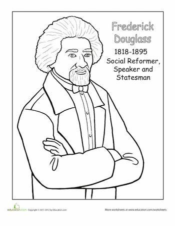 Worksheets: Frederick Douglass Coloring Page