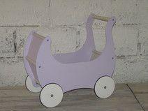 Drewniany wózek dla lalek +materacyk WRZOSOWY