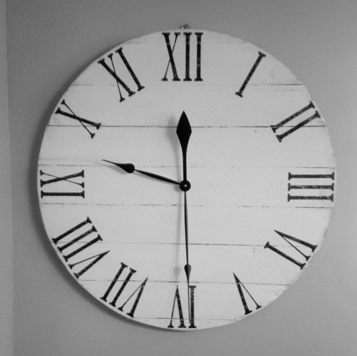 wall clocks wood clock wood pallet clock reclaimed wood clock white roman numeral clock