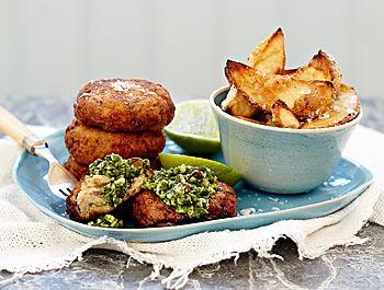 Sarah Graham's spicy prawn cakes with watercress pesto - Eat Out