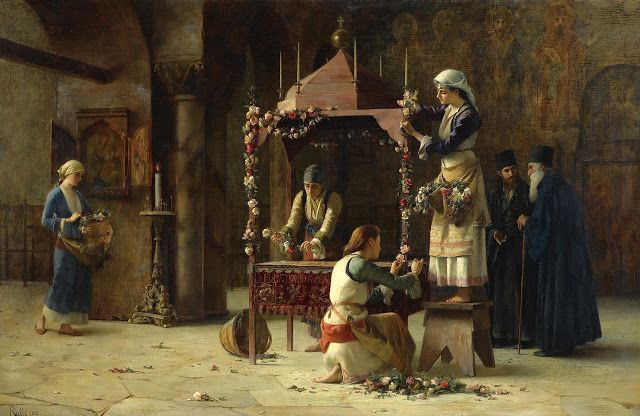 Paintings by Theodoros Rallis- Women and the Life of the Church