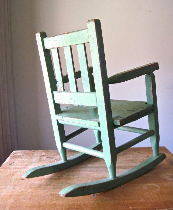 ... Wooden Childs Rocking Chair, Vintage Childrens Furniture Rocker