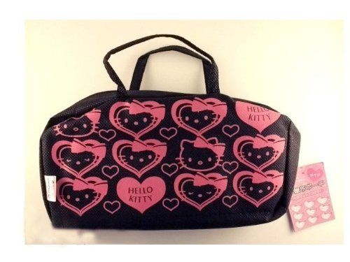 "Hello Kitty Santio Hearts Cosmetic Pouch - Black by Hello Kitty. $6.29. Can be used anywhere, fits on small purses. Bright Hello Kitty ""Hearts"" design. Approx. dimensions - 6"" inches (long) x 8.5"" inches (wide). Unit of measure - 1 pc. Very rare in the US. Two pockets accessories pouch for organizing small items such as stationary and cosmetics. There's a small handle for it."