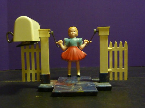 Vintage Celluloid & Bakelite Wind up toy Girl Jumping