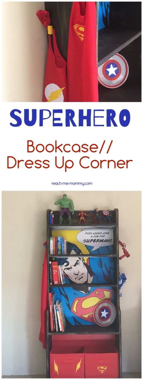 Awesome upcycling project-superhero bookcase!                                                                                                                                                                                 More