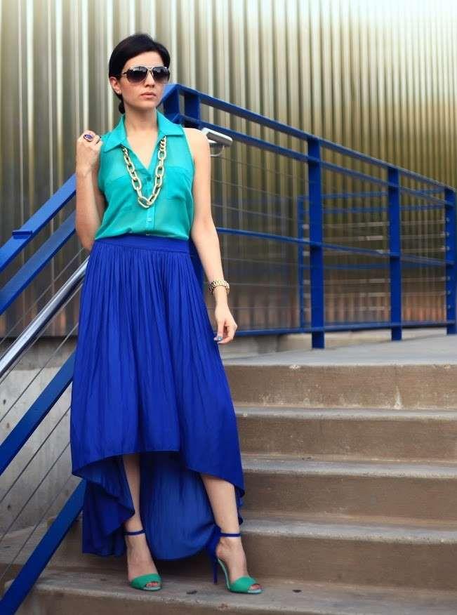 Vestito nero e verde acqua blu