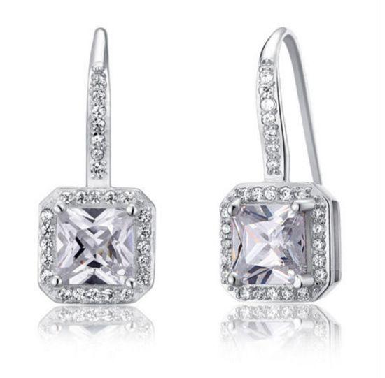 Νυφικά Σκουλαρίκια από Συνθετικό Διαμάντι - 925 Ασήμι - http://www.memoirs.gr/