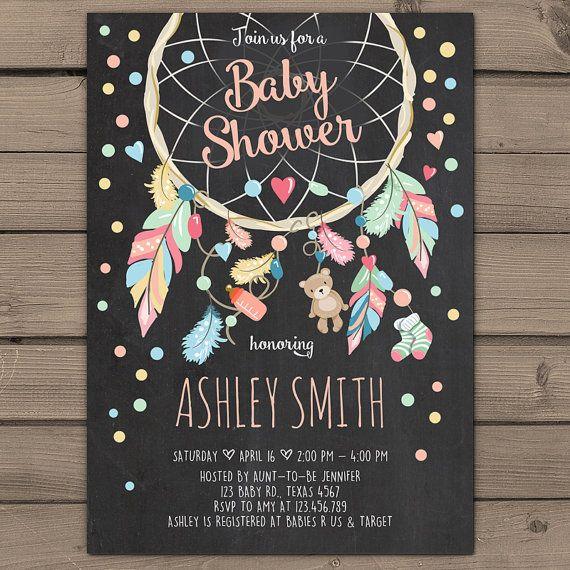 Dreamcatcher Baby Shower Invitation Baby by Anietillustration