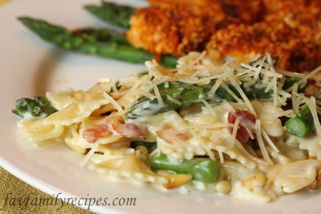 Bowtie & Asparagus Pasta~ amazing! I reduced the butter to 4Tbsp, added an extra clove of garlic (we love garlic!) and didn't add the parmesan until the sauce was simmering (you want a creamy sauce, not a sauce with cheese balls in it.) Def. a high calorie side, but it looks beautiful and friends will love it.
