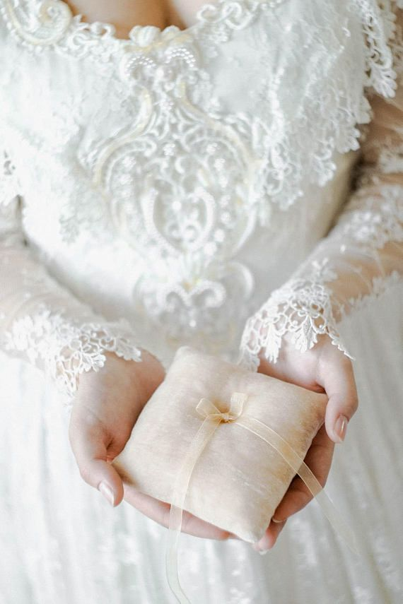 Beige Ring Pillow Ring Bearer Pillow Ring Pillow Wedding