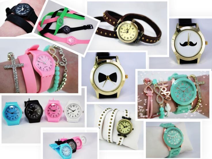 We hebben zojuist een aantal nieuwe horloges toegevoegd in onze webwinkel.  Candy color horloges: blauw, roze, wit en zwart €6,95 p.s Candy color dubbele band horloges: zwart, roze en groen €7,50 p.s Mintgroene geneva horloge €12,50 Vintage double wrap studs horologes: Bandje is van leer Wit en bruin €12,95 p.s Strik en snorren horloges: €12,95 p.s  www.oohlala.nl