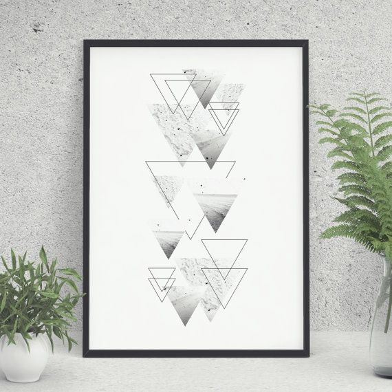Triangles Printable, Geometric Printable, Modern Art